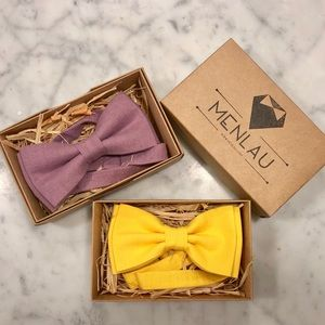 Other - 2 for 1 : Yellow + Purple Linen Bow tie